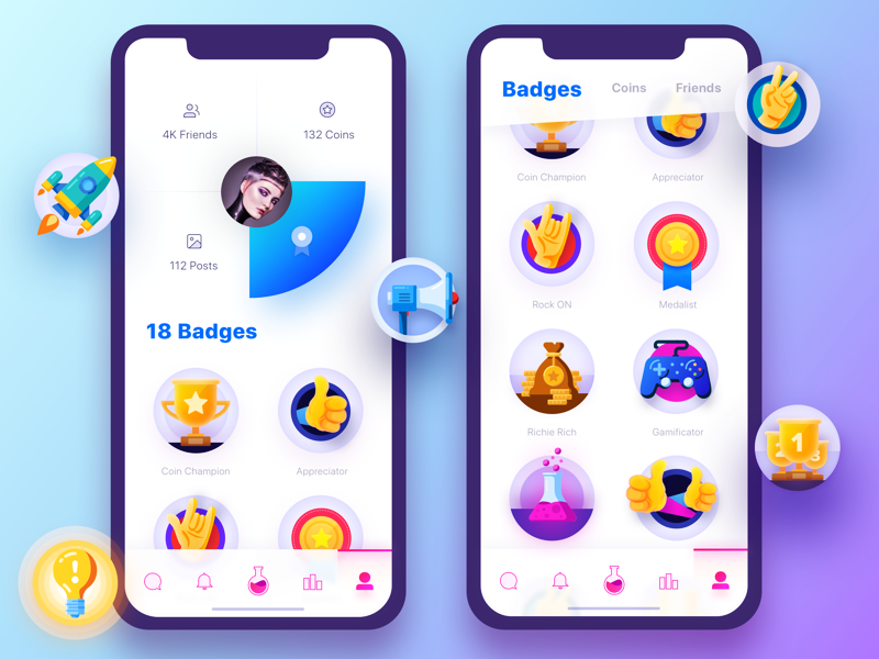 Fame Lab Badges badges profile followers awards famous instagram gamification comments iphone x stats infographic