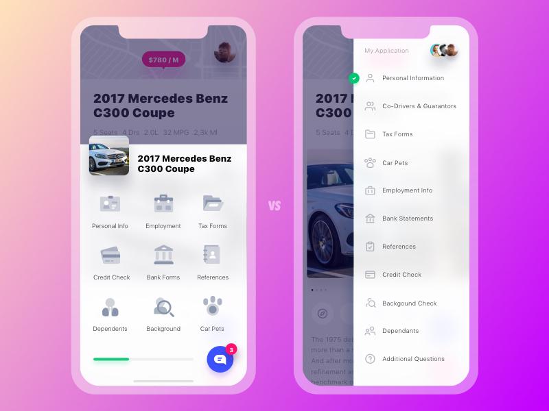 Get Wheels. Application Layouts comparison car rent mercedes tiles list iphone x vehicle car mobile application ux ui