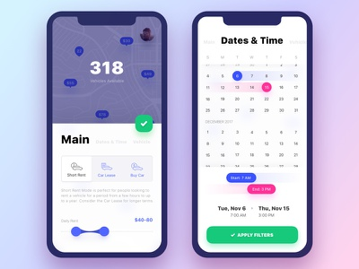 Get Wheels. Filters #1 calendar iphonex date picker sliders toggle interaction logic vehicle car rental filter button filters interaction app ui mobile ux