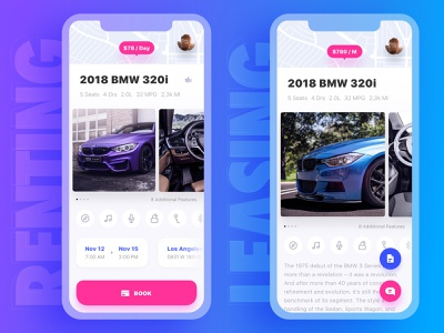 Get Wheels. Renting vs Leasing interaction process comparison bmw messages lease application car dealership car rental map car page book leasing vehicle renting vehicle case logic mobile