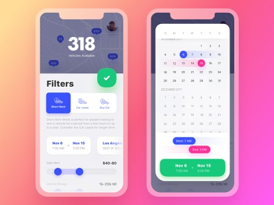 Get Wheels. Final Filters vehicle mobile toggle interaction logic interaction map pins map friendly rounded iphonex lease rental scheduler slider tabs date picker calendar ui ux filters