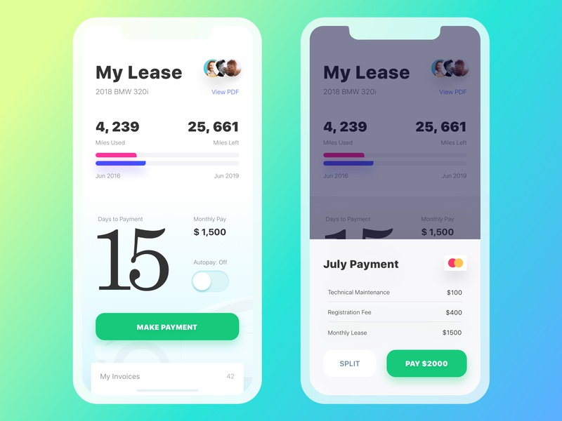 Get Wheels. Lease Page car car app rentals rentacar switcher bar chart receipt credit card payments carlease lease typography infographic ios icons dashboard interaction mobile ui ux