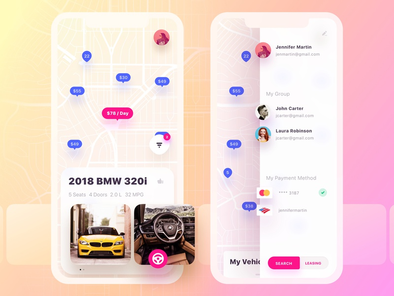 Get Wheels. Side Nav filters navigation bar map pins map switcher bmw menu mobile ui ux bottom navigation principle car vehicle likes application list side menu swipe