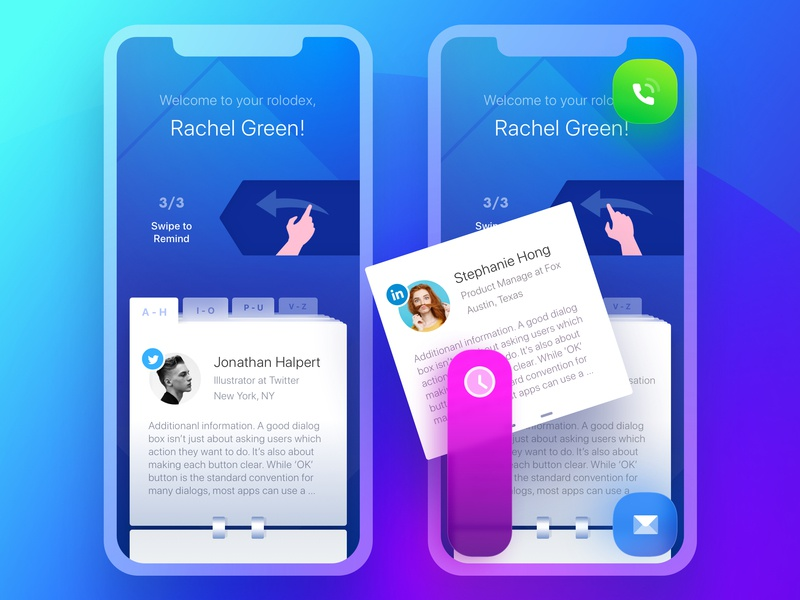 Rolodex. On-boarding #3 green rolodex notes contacts switcher pages tabs onboarding launch page turn arrow twitter notebook reminder scheduler ui ux management app organizer productivity