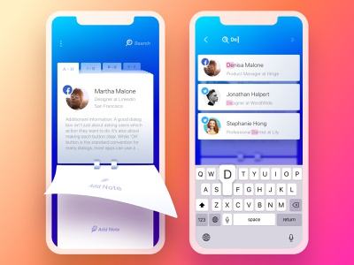 Rolodex. Search search rolodex notes contacts switcher pages tabs onboarding launch page turn arrow twitter notebook reminder scheduler ui ux management app organizer productivity