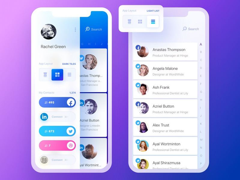 Rolodex. Dark Tiles & Light List Views night mode dark mode app iphone loader rolodex contacts notebook twitter slack purple arrow page turn launch onboarding tabs pages switcher notes