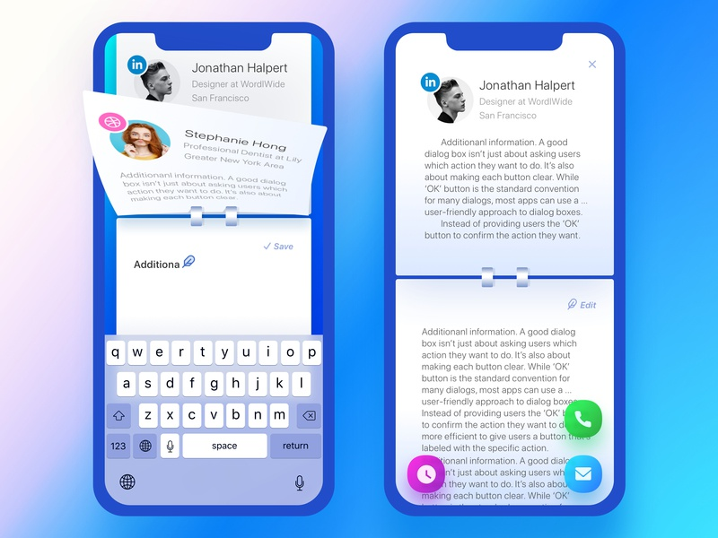 Rolodex. New Note feather productivity organizer management app ux ui scheduler reminder notebook twitter arrow page turn launch onboarding tabs pages switcher contacts notes rolodex