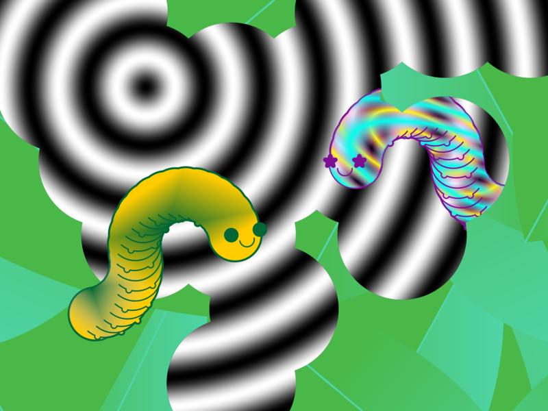 Eating the loop alien creature tunnel new friend friends vector art worms cartoon loophole caterpillar
