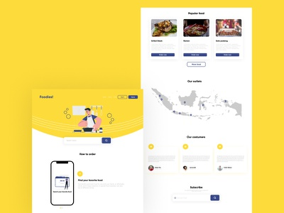 Foodies landing page website food mobile frontend website concept website design mockup icon logo logodesign illustration branding app ux logo design ui