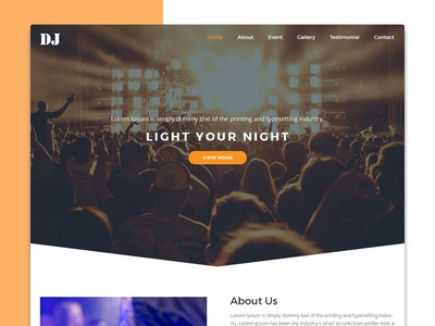 DJ Website entertainment website ui techno sound production music flat event dark homepage dj