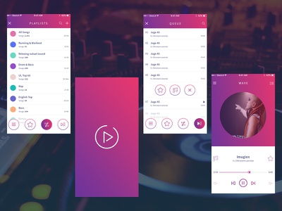 Music App app interactive web player favorite song mobile ios music design ui ux