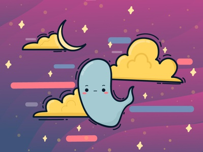 night sky kawaii doodle