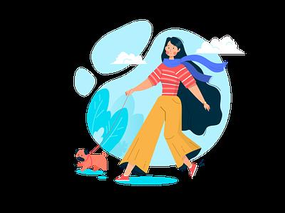 Promenade cartoon walk dog female character cute character adobe illustrator vector illustration