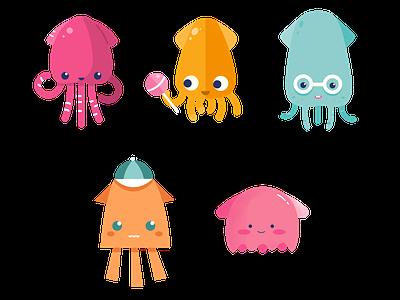 Squid team character design childrens illustration squid clipart cute vector adobe illustrator illustration