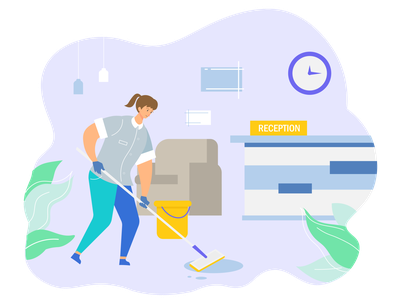 Hotel Cleaning hotel cleaning housekeeper blog illustration flat design character cartoon female character character design design adobe illustrator vector illustration