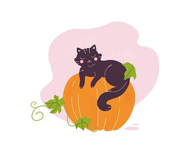 Kitty adobe illustrator vector cute pumpkin kitty illustration