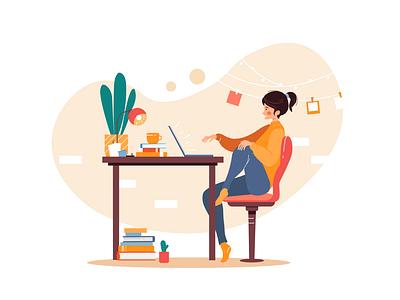 Girl sitting at the table female character character design adobe illustrator vector illustration