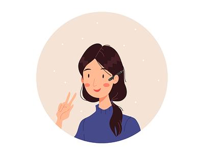 Self-portrait selfportrait female character cute character cartoon adobe illustrator vector illustration