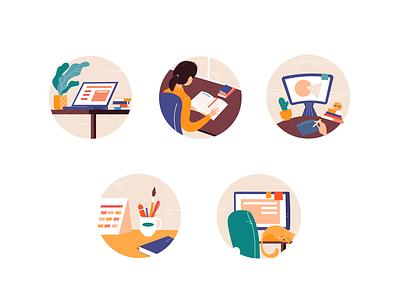 Freelance routine Icon Set icon design introvert artist freelance routine cozy icon set icon illustration adobe illustrator vector