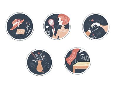Vintage Romance Icon Set design vintage romantic icon set icon design icon illustration adobe illustrator vector