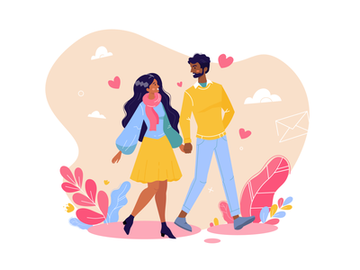 Happy Valentine's Day valentines day love couple design flat design cute character design character cartoon illustration adobe illustrator vector
