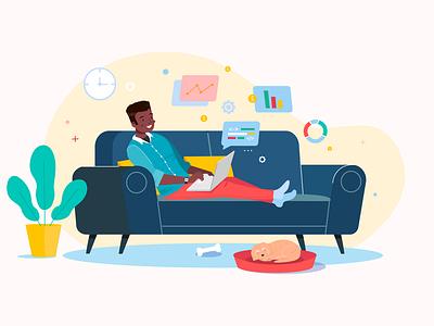 Coding coding freelance flat design male character character design character cartoon illustration adobe illustrator vector