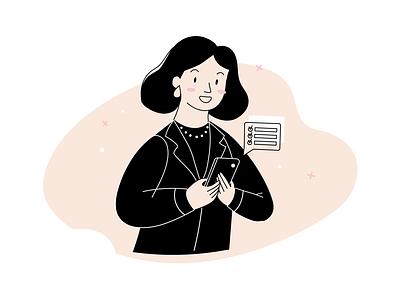 Tenant web image black and white line art outline cute character design character cartoon illustration adobe illustrator vector