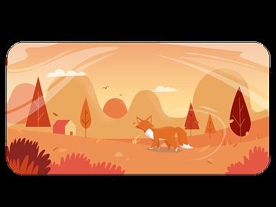 Autumn Header Image banner header fox autum design vector illustration adobe illustrator