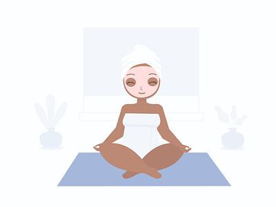 Meditation minimal female character plus size keep calm meditation relaxation bodypositive vector illustration