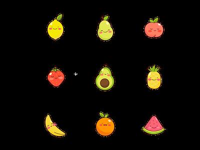 Happy Fruit cute fruit icon set adobe illustrator vector illustration