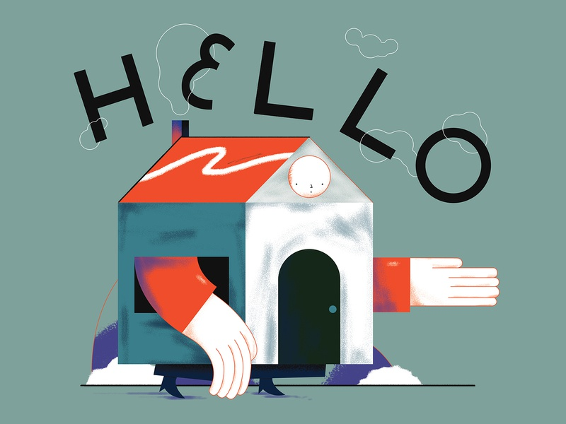 Hello I'm home drawing illustrator house photoshop graphic flat vector texture design character illustration