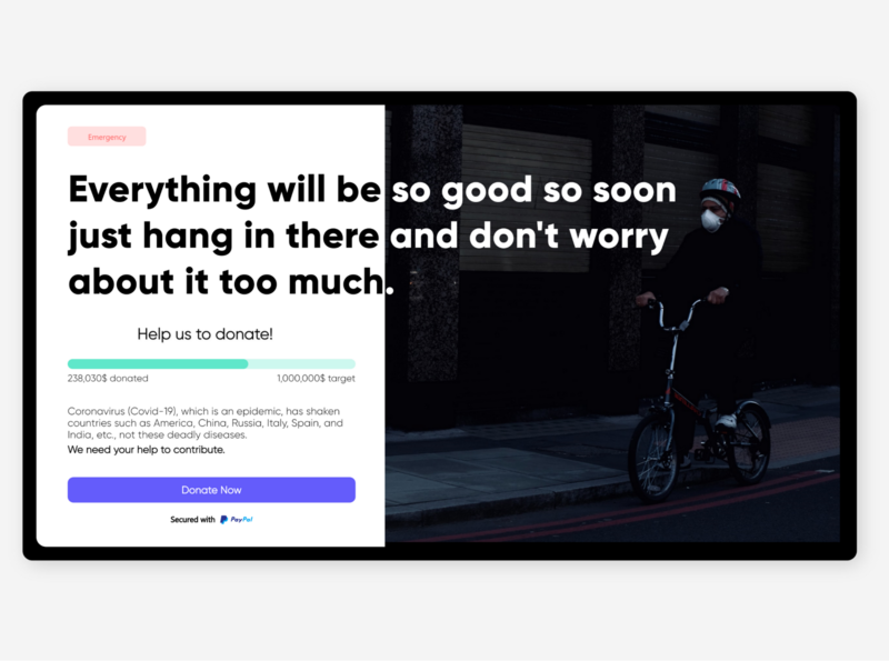 Crowdfunding Campaign for Covid'19 design dailyui adobexd ui 100daysofui