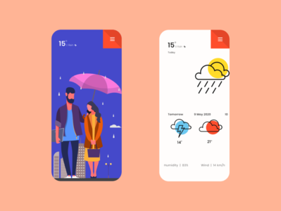 Weather App design dailyui adobexd ui 100daysofui