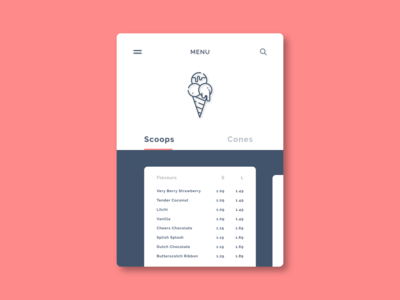 Ice-cream Menu design dailyui adobexd ui 100daysofui