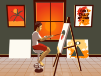 Painting perspective easel canvas vector afternoon painting illustration