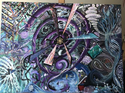 Odysssey Acrylic Painting concept psychadelic illustration design contemporary art surrealism abstract acrylic painting
