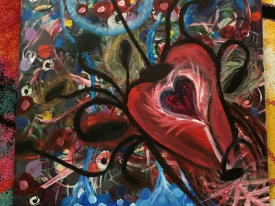 Old Love Acrylic Painting women dribbbleweeklywarmup valentinesday contemporary surrealism colors abstract painting design acrylic art love illustration creative
