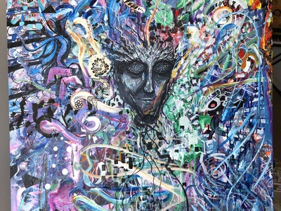 Botanical Acrylic Painting psychadelic surrealism concept acrylic abstract design art illustration contemporary painting