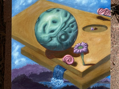 Green Moon Oil Painting concept abstract study surrealism painting oil illustration design contemporary art