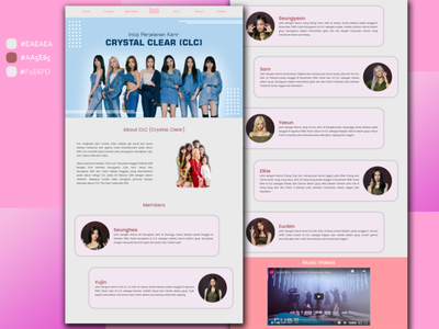 Landing Page CLC (Crystal Clear) Korean Artist uidesign uiux kawaii girlgroup koreanartist kpop korean graphic design app web website ui ux design branding