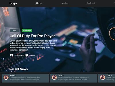 News Portal For Gaming Community game flutter design news