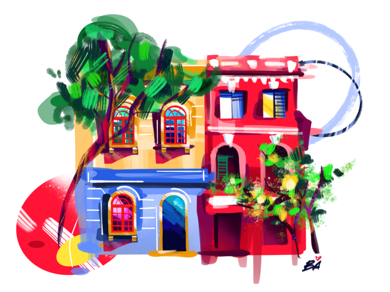 Buenos Aires bright brush art procreate palermo buenos aires south america argentina colorful street illustration