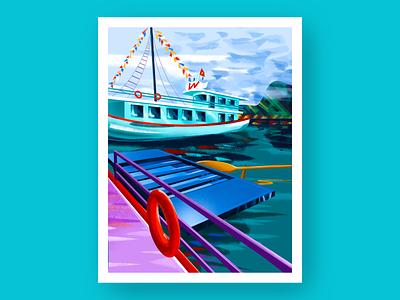 Halong Bay Cruise ipad art asia travel colorful artist procreate art brush vietnam illustration procreate