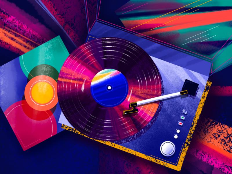 Vinyl Time inspiration music player illustration brush bright vinyl procreate music