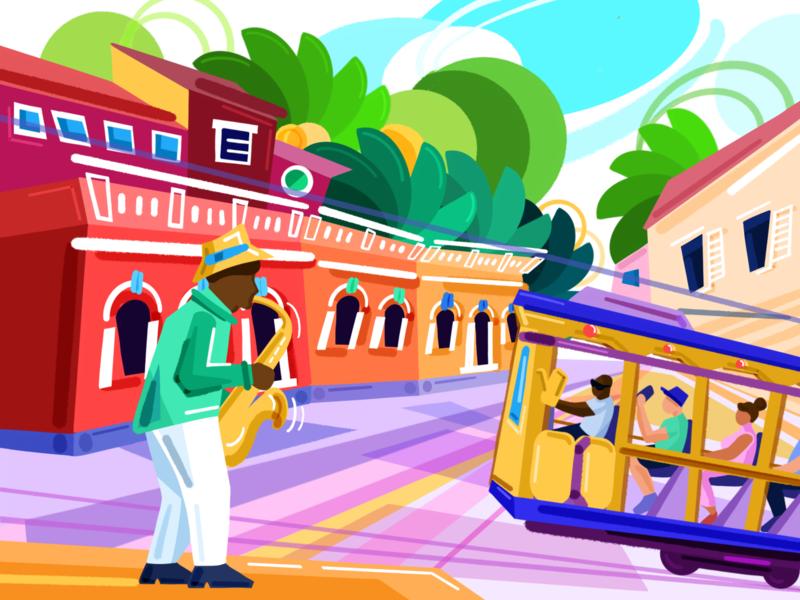 Rio de Janeiro Jazz latin america travel street city tram saxophonist brazil rio de janeiro flat procreate colorful bright illustration