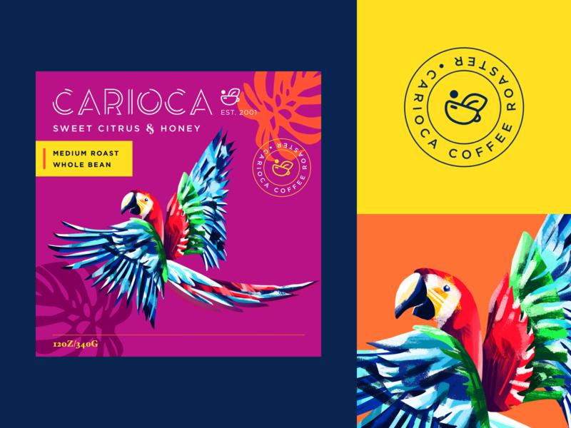 Carioca Coffee graphics illustrator rio de janeiro brazil packaging design branding concept procreate logo branding illustration coffee packing coffee