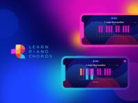 Learn Piano Chords App learn app music gradient branding logo interface bright ui