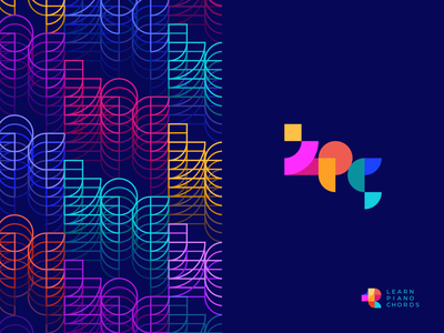 Learn Piano Chords Logo Variation pattern composition symbol colorful bright logotype branding logo