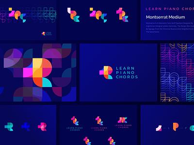 Learn Piano Chords Logo process bright logo design app composition dark colorful branding logotype logo
