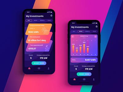 Solar Power app gradient stats ios solar investment dark ui colorful app interface ui